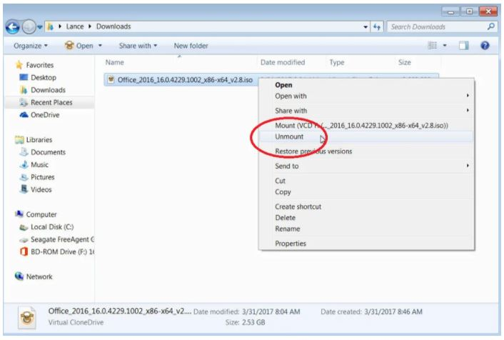 Method4 Unmount the Virtual Drive/ How to Install a Software Program from an ISO File