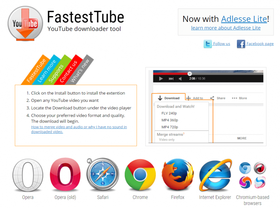 FastestTube Browser Extensions For Videos Download