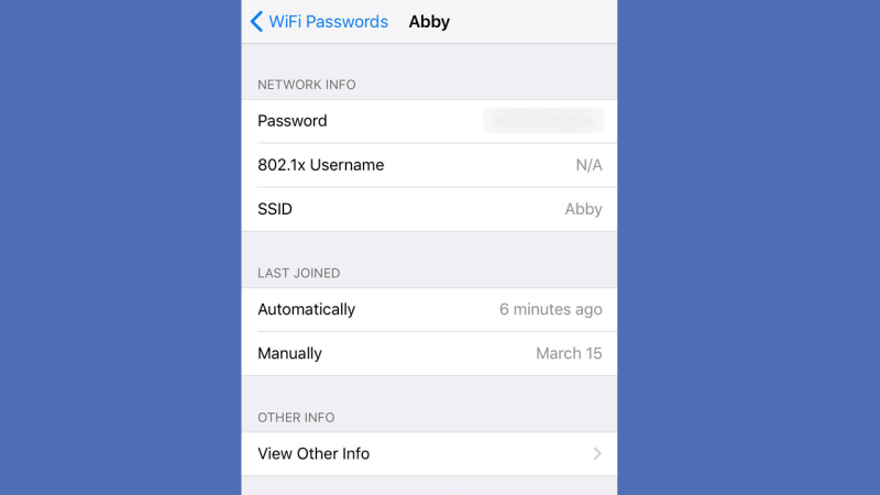 view saved wifi password on iphone mobile