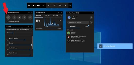 4. Use window GameBar to take a screenshot in pc
