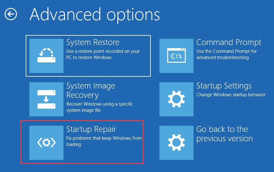 Solution 4: System Reinstall click startup repair