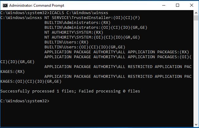 "Sol. 3: Command Prompt window, Type ""ICACLS C:\Windows\winsxs"""