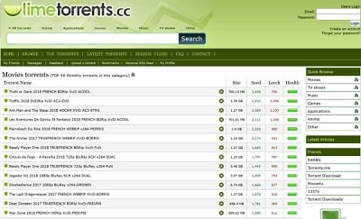 10. Lime Torrents – torrent movie download sites in india