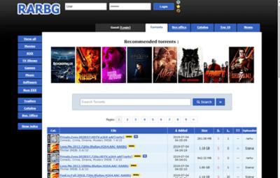 2. RARBG – top torrenting websites