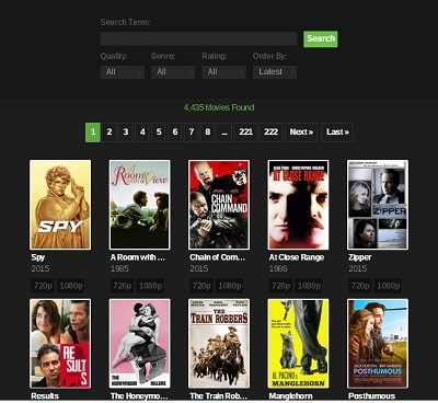 6. YTS – best torrent search engine
